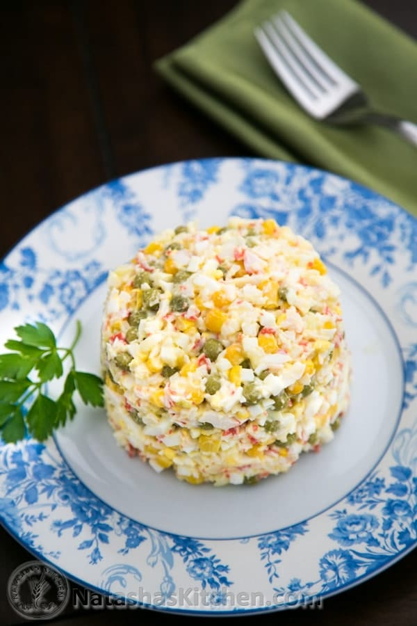 crab salad on a plate