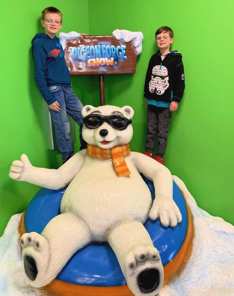 Pigeon Forge Snow boys with Polar Bear