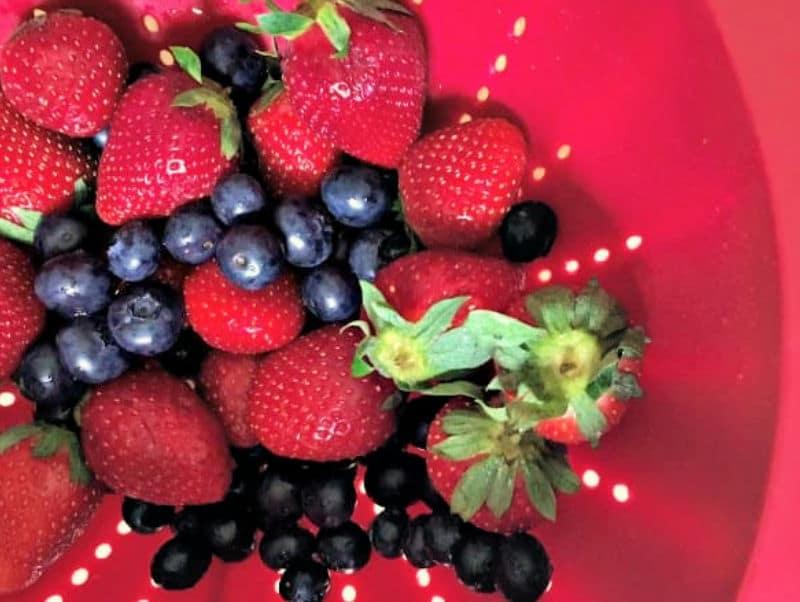 summer fruits in collander