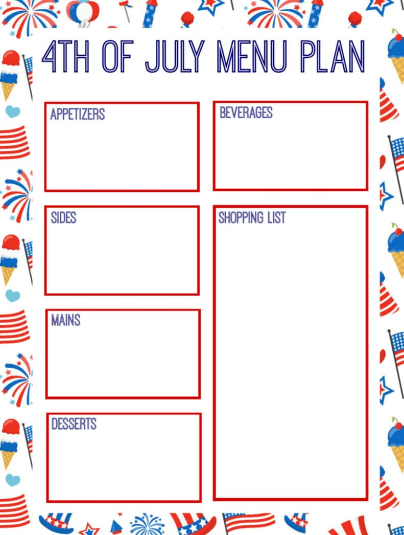 July 4th Menu Printable