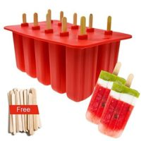 Popsicle Molds Food Grade Silicone Frozen Ice Cream Maker with Wooden Sticks, Red