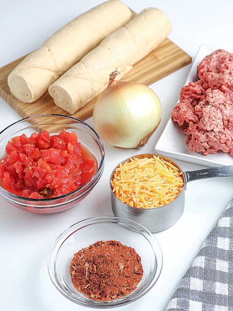 easy empanadas ingredients in bowls