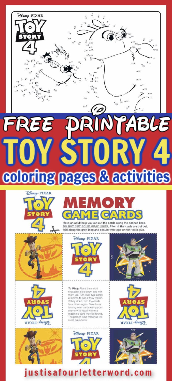 Toy Story 4 Coloring Pages and Activities Pin