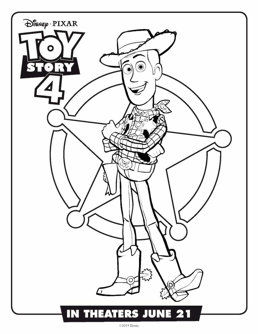 Toy Story 4 Woody Coloring Page
