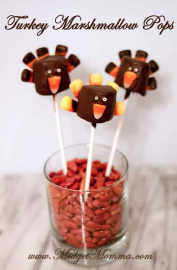 Turkey Marshmallow Pops | Chocolate Covered Marshmallows