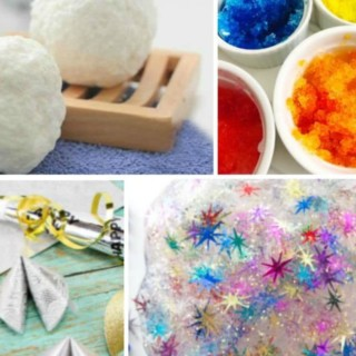 New Years Eve kids activities like snowball soap, slime, snow painting and fortune crafts