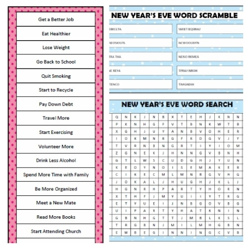 New Year's Games (Free Printables)