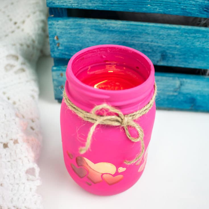 Valentine's Day Mason Jar Cricut Lantern Instructions