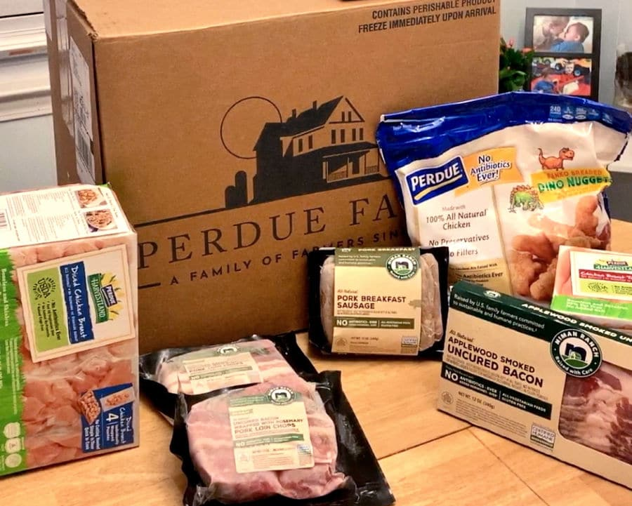 Perdue Farms Delivery Service Family Bundle Items in front of box