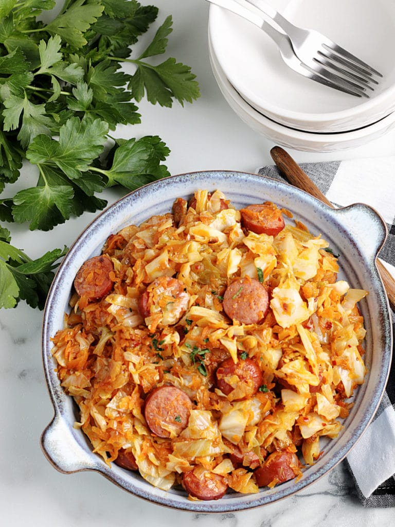 Sausage and Cabbage Skillet Serving Dish