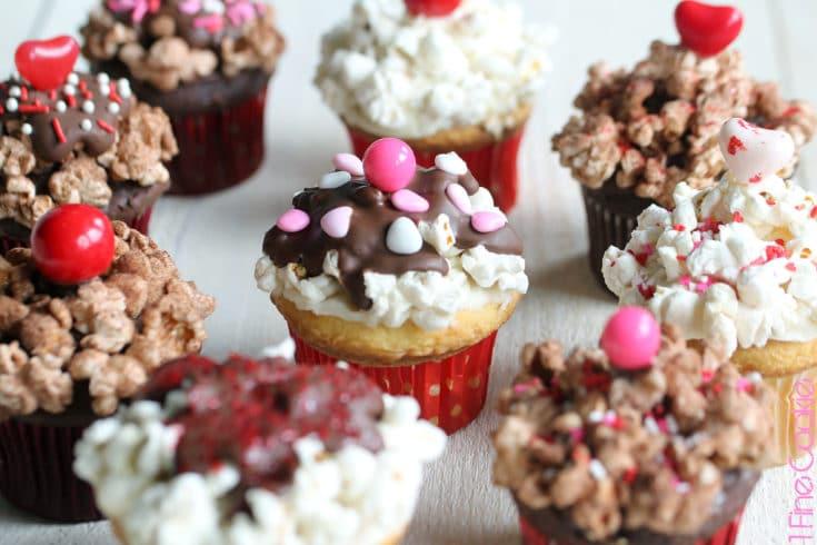 Valentine's Popcorn Sundae Cupcakes