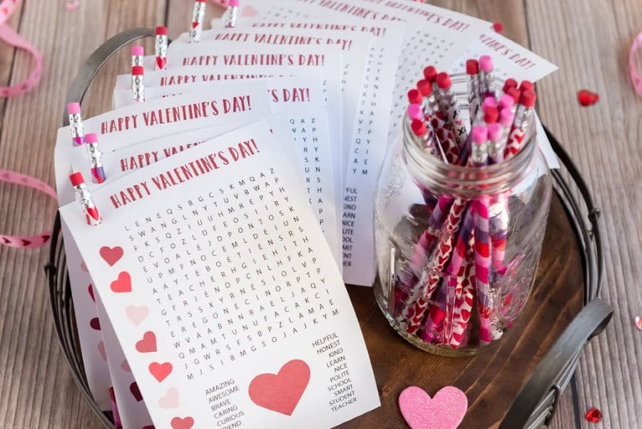 Word Search Teacher Valentines to Students