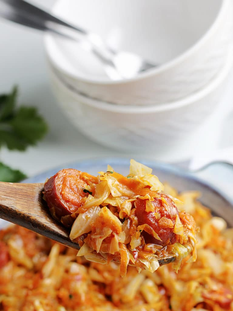 fried cabbage on spoon