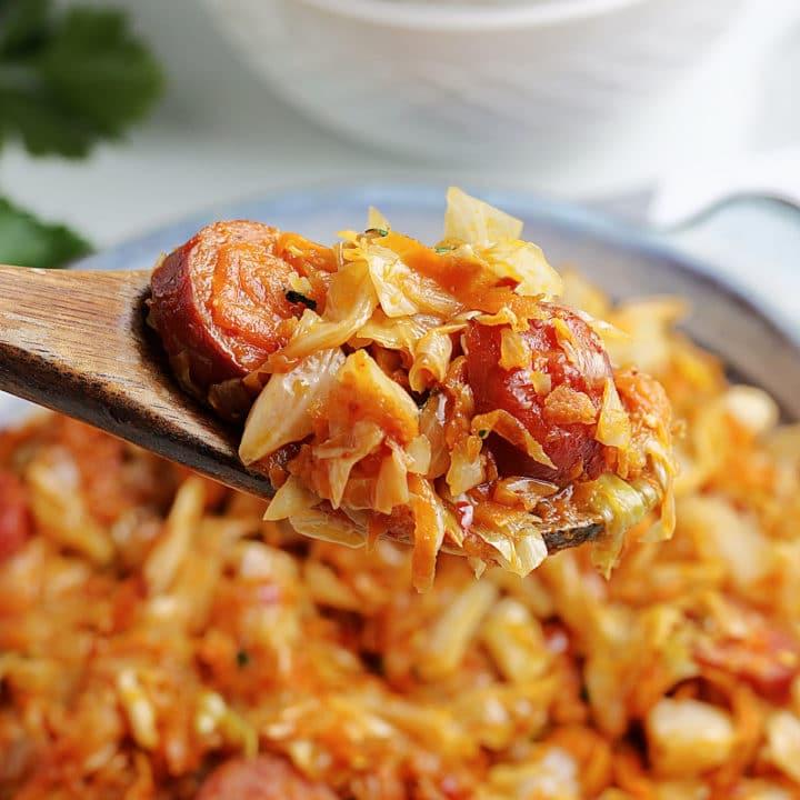 fried cabbage sausage skillet recipe