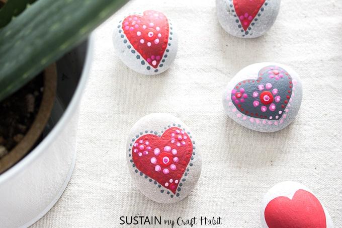Painted Heart Rocks