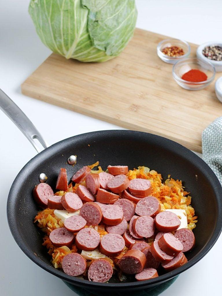 smoked sausage in skillet