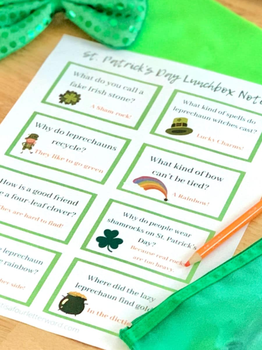 Printable St. Patrick's Day Jokes Lunchbox notes