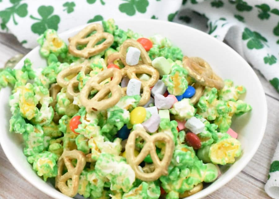 St. Patrick's Day Popcorn Mix Hero