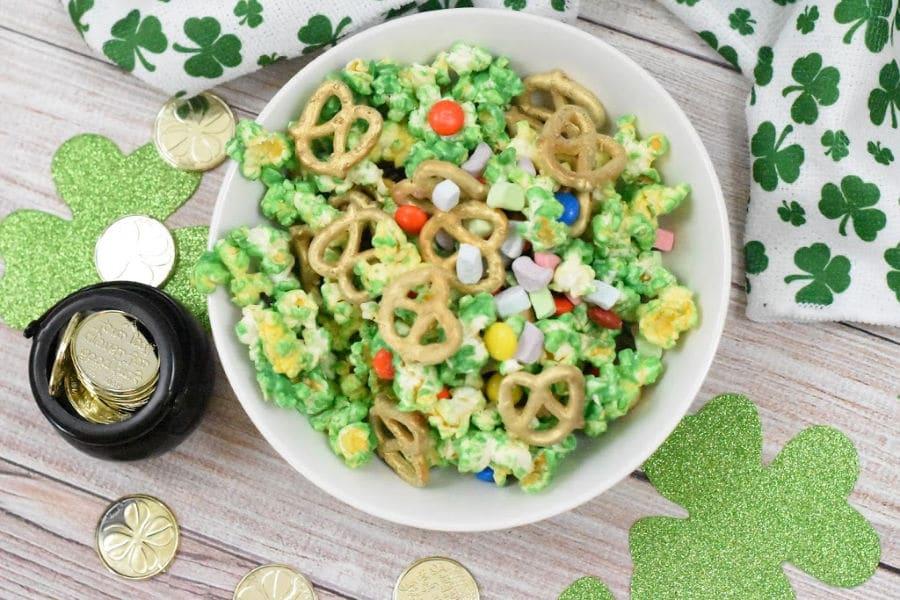 St. Patrick's Day popcorn mix overhead