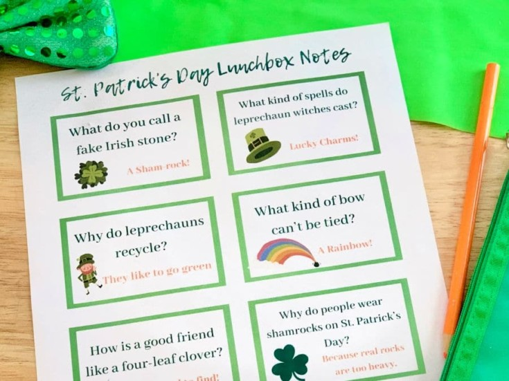 St. Patrick's Day Jokes Lunchbox Notes