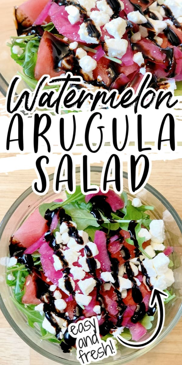 Watermelon Arugula Salad in a bowl with balsamic glaze
