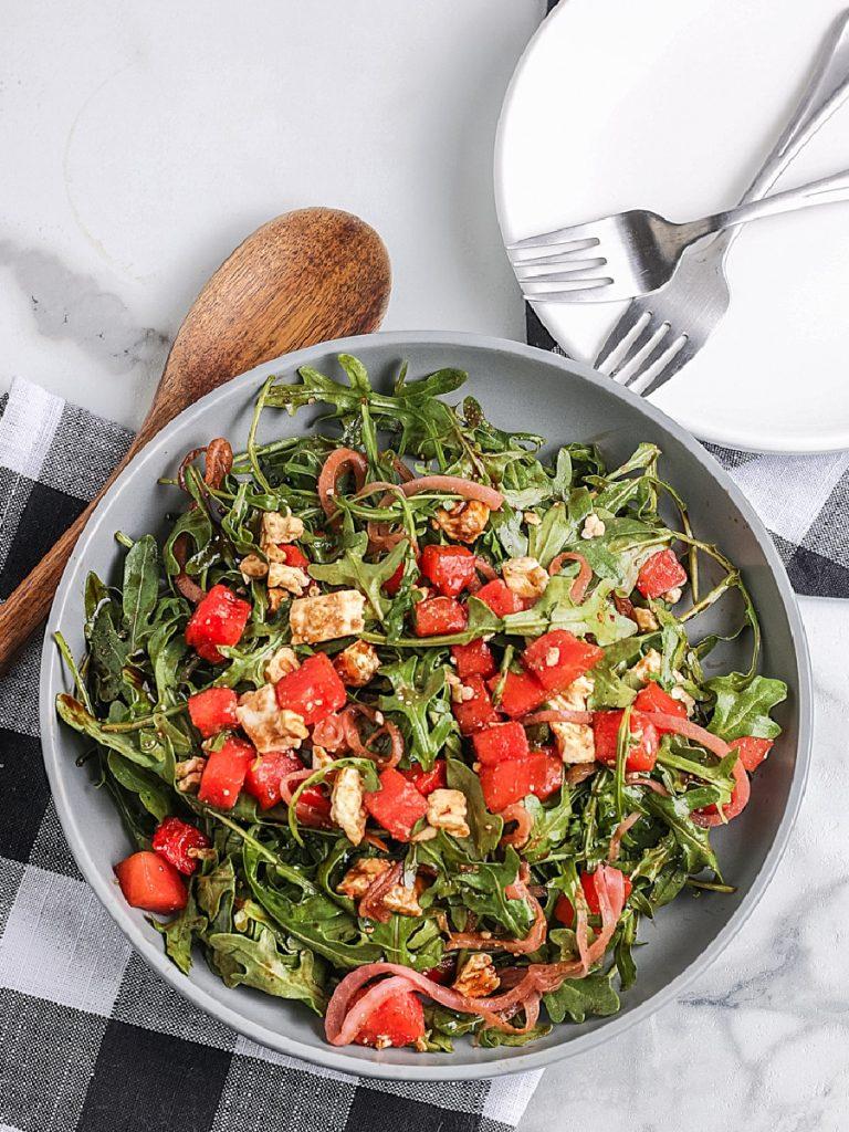 Watermelon Arugula Salad on a plate