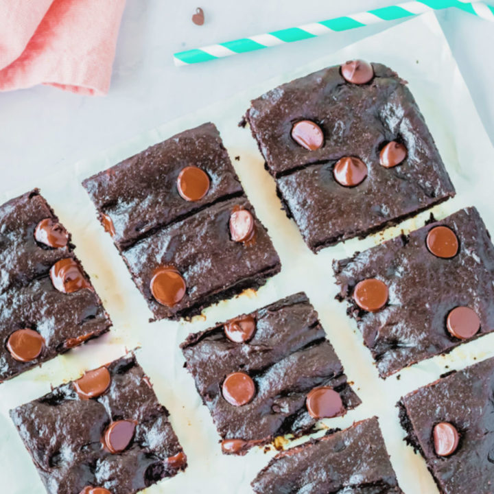 Avocado Brownie Squares on parchment paper