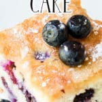 Blueberry Breakfast Cake zoomed in with blueberries on top