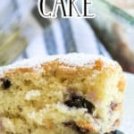 Blueberry Breakfast Cake from the side on a plate