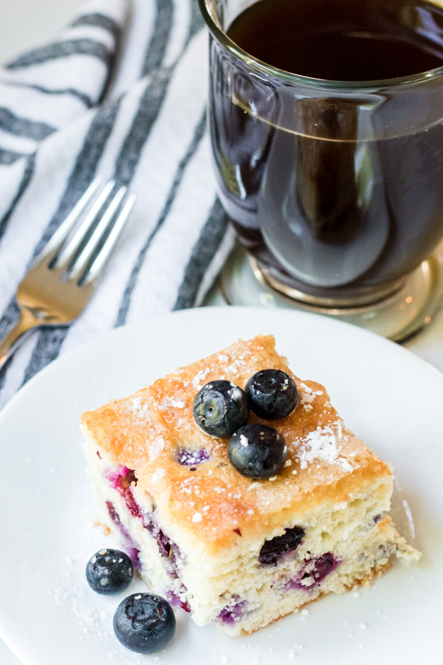 blueberry cake square piece on plate