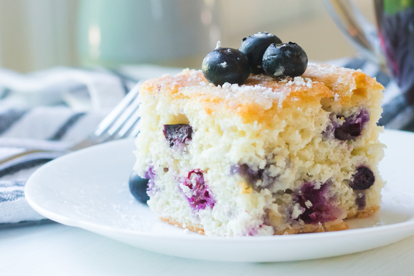blueberry cake square plated