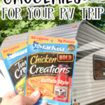 GROCERIES IN AN RV tuna packets in front of trailer