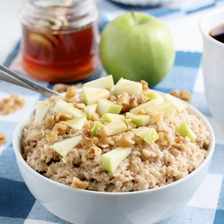 Apple and Honey Oatmeal in a bowl