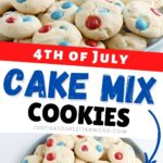 2 images of patriotic cake mix cookies on plates with pin text