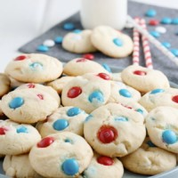 Patriotic Cake Mix Cookies Up Close on plate