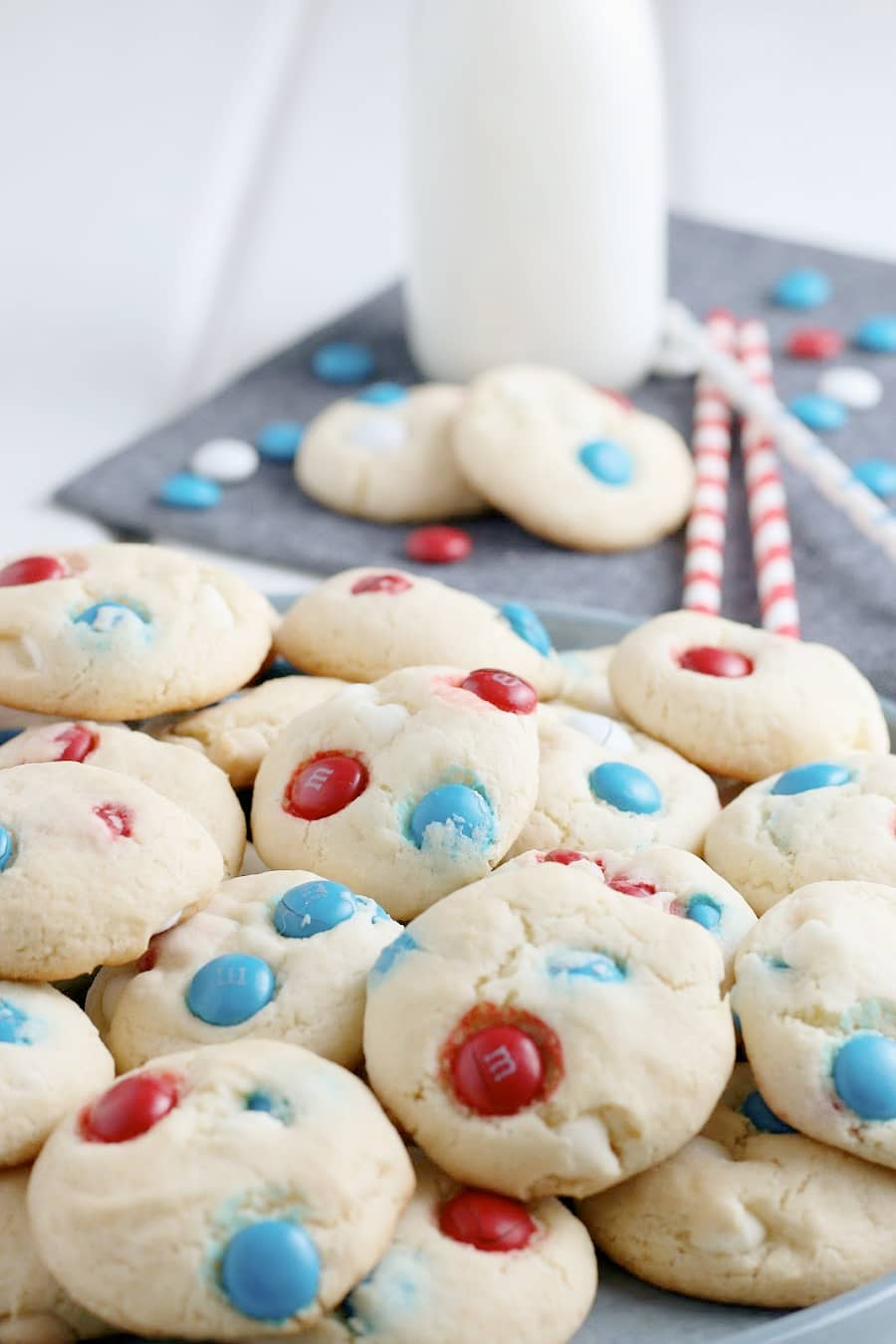 Patriotic Cake Mix Cookies up close