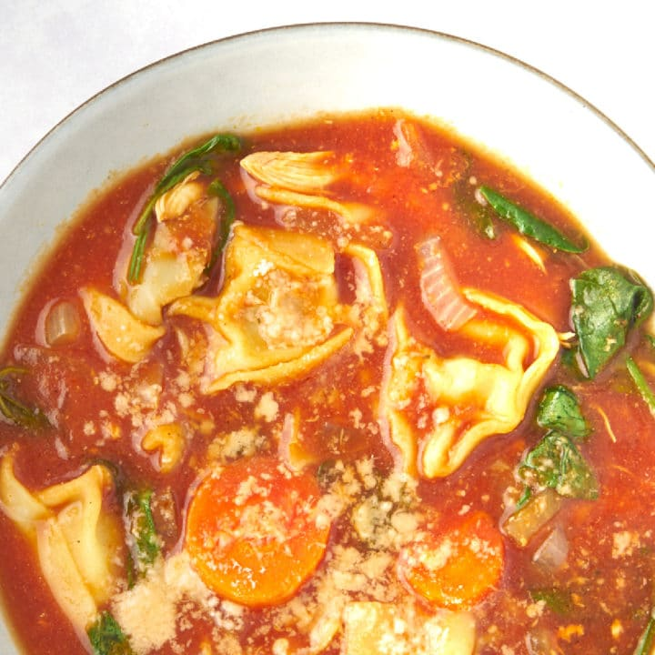 Slow-Cooker-Tomato-Tortellini-Soup-with-Chicken Recipe in bowl