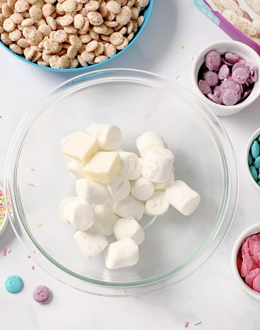 marshmallows and butter in a bowl