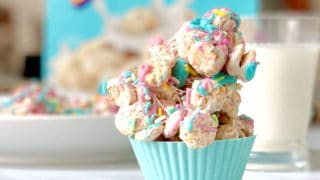 unicorn cereal clusters stacked in a cupcake liner
