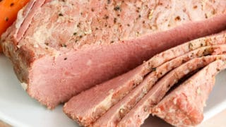 Slow Cooker Corned BeefSliced on plate