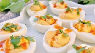 buffalo deviled eggs on plate
