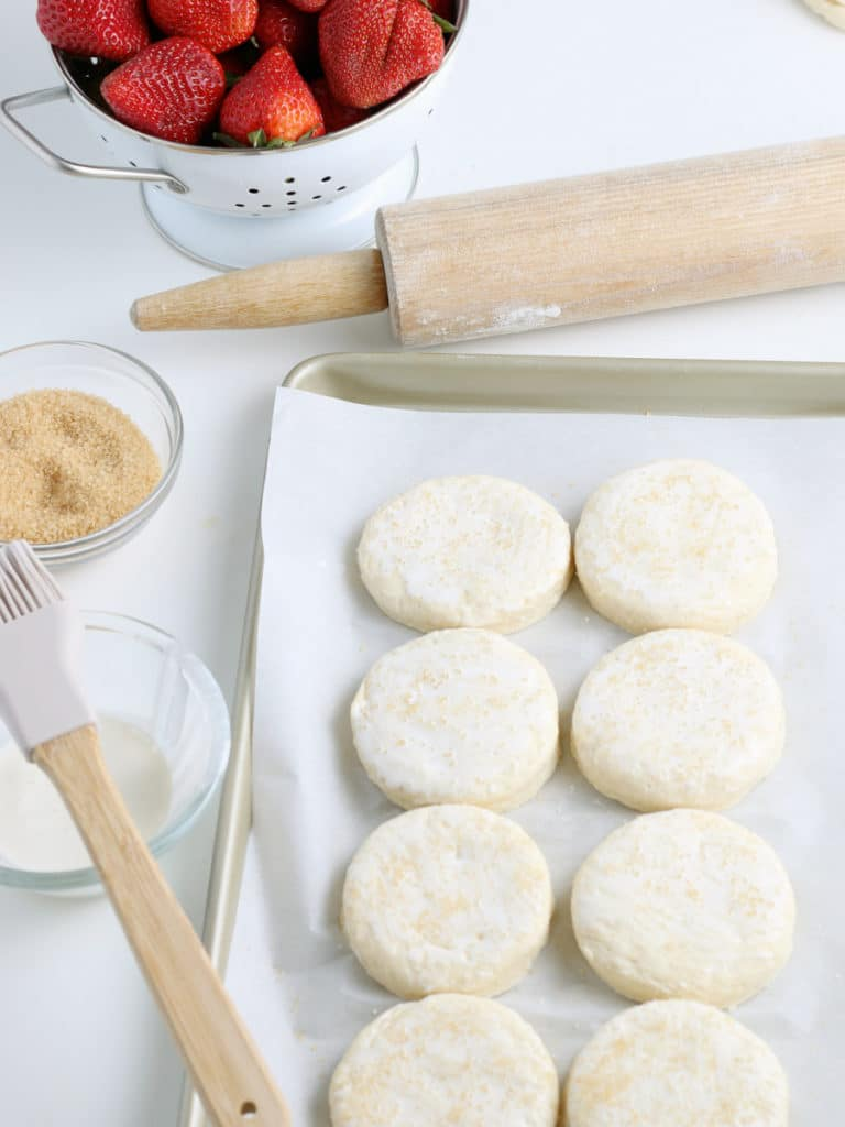 shortcakes on a pan with sugar