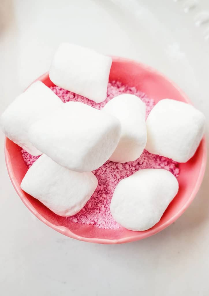 strawberry milk powder and marshmallows in candy shell