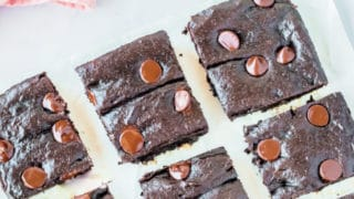 Avocado Brownies on parchment paper