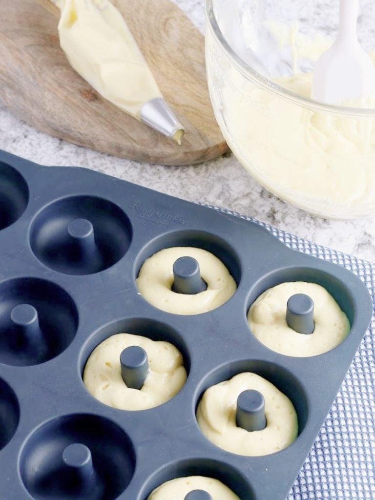 donut batter in pan