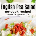 english pea salad pin image