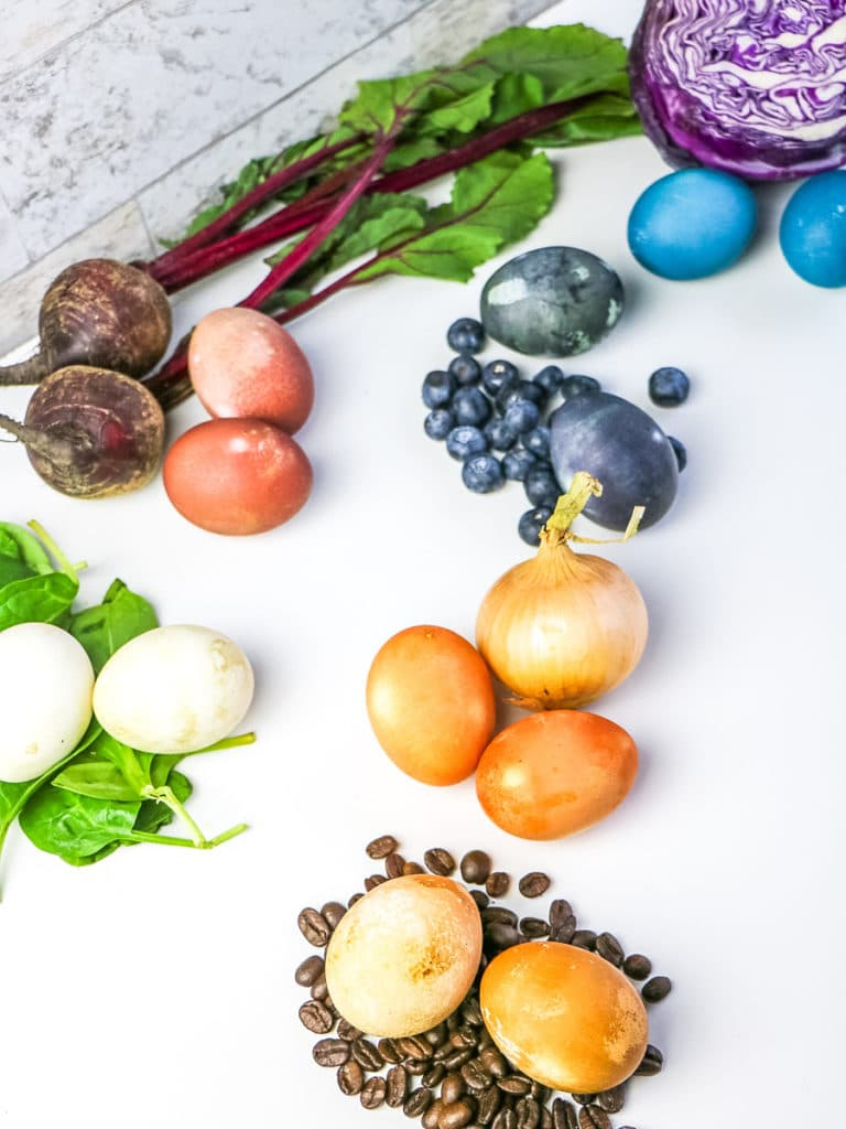 eggs dyed with vegetables
