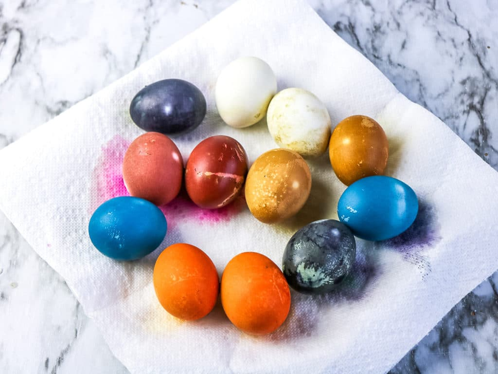 dyed eggs drying on paper towel