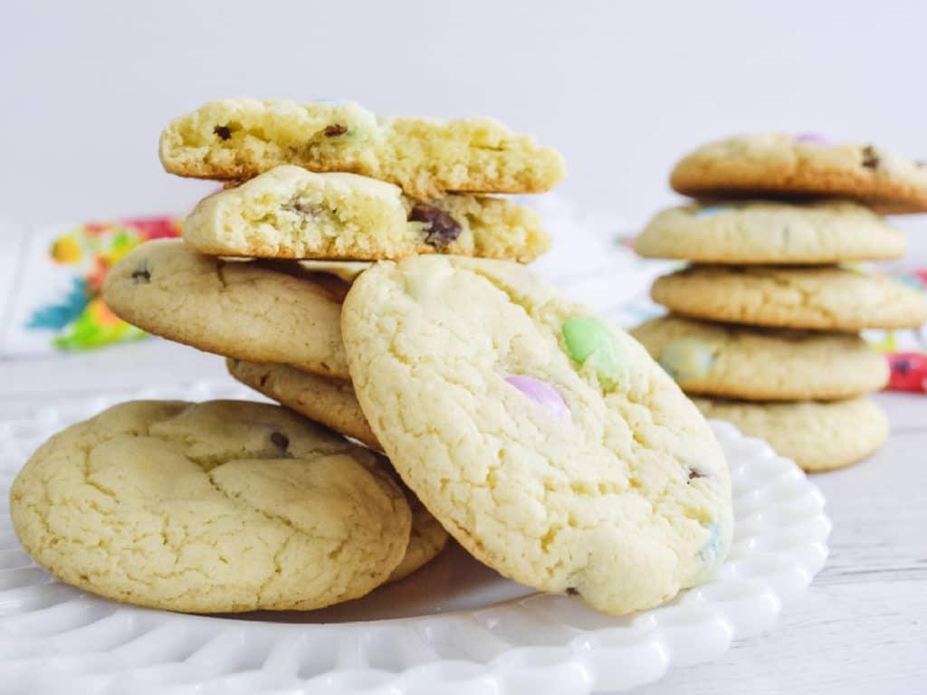 spring cookies on plate