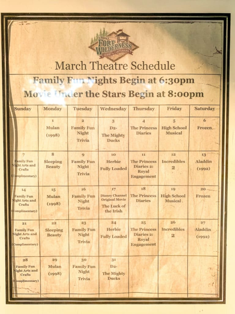 March theater schedule 2021